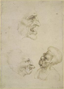 レオナルド・ダ・ヴィンチに基づく《グロテスクな3つの頭部のカリカチュア》 大英博物館蔵 ©The Trustees of the British Museum
