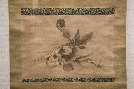 雪村筆 《野菜香魚図》 室町時代(16世紀)