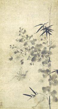 ①雪村筆 《菊竹蟷螂図》 1幅 74.0×39.5cm 個人蔵 【展示期間:4月25日~5月21日】