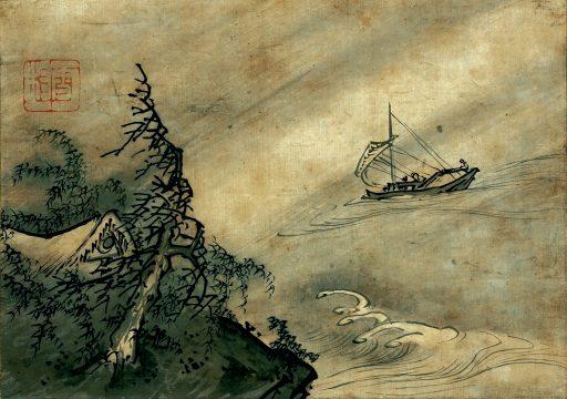 ①雪村筆 《風濤図》 重要文化財 1幅 22.1×31.4cm 京都・野村美術館蔵 【展示期間:4月25日~5月21日】