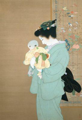 上村松園《母子》重要文化財 昭和9年(1934)東京国立近代美術館蔵
