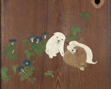 「朝顔狗子図杉戸」 円山応挙筆 江戸時代・天明4年(1784) 東京国立博物館蔵