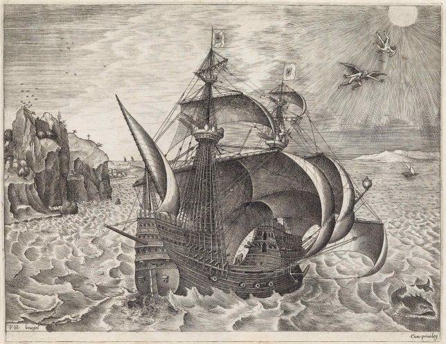 ピーテル・ブリューゲル1世[下絵] フランス・ハイス[彫版]《イカロスの墜落の状景を伴う3本マストの武装帆船》1561-1562年頃 Private Collection