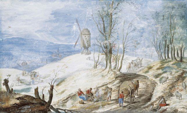 ヤン・ブリューゲル2世《冬の市場への道》1625年頃 Private Collection