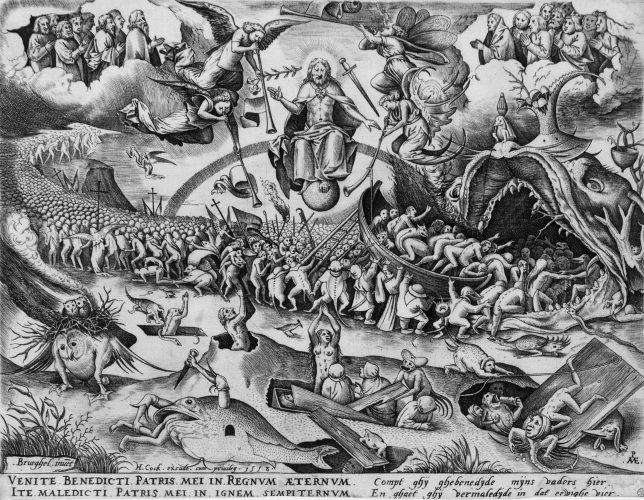 ピーテル・ブリューゲル1 世[下絵] ピーテル・ファン・デル・ヘイデン[彫版] 《最後の審判》  1558年 Private Collection