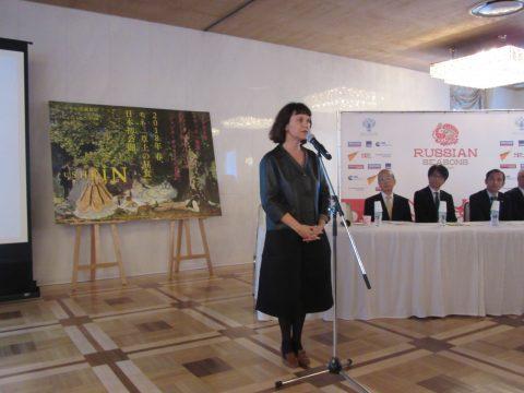 冒頭で挨拶を述べる、プーシキン美術館 マリーナ・ロシャク館長
