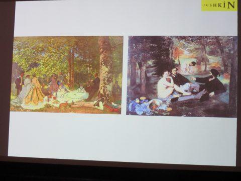 制作にあたり刺激を受けたとされる、エドゥアール・マネ《草上の昼食》との比較