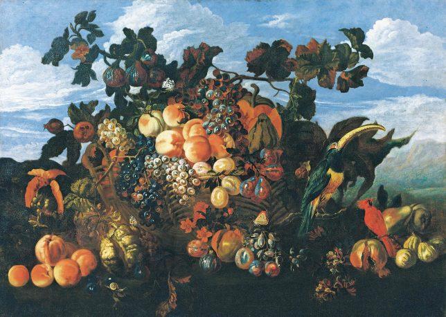 アブラハム・ブリューゲル《果物の静物がある風景》1670年 Private Collection