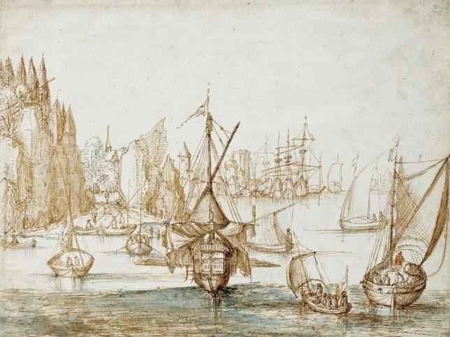 ヤン・ブリューゲル1世《山沿いの海岸線をいく船団》1590-1595年頃 Private Collection