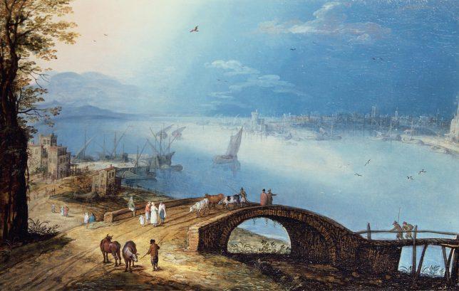 ヤン・ブリューゲル1世(?) ルカス・ファン・ファルケンボルフ《アーチ状の橋のある海沿いの町》1590-1595年頃 Private Collection, Belgium