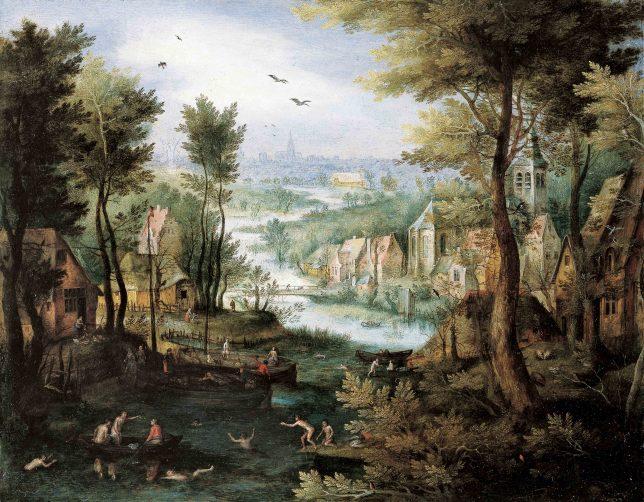 ヤン・ブリューゲル1世《水浴をする人たちのいる川の風景》1595-1600年頃 Private Collection, Switzerland